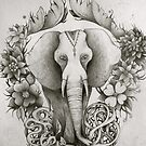 black & white indian elephant  by melaniedann