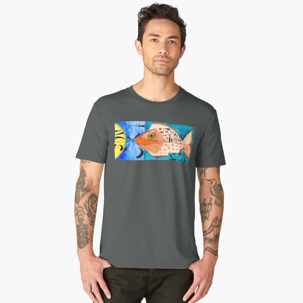 Sun, Sky, Fish, Sea Men's Premium T-Shirt Front