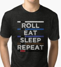 Jiu Jitsu T-Shirt Roll Eat Sleep Repeat Tri-blend T-Shirt