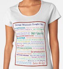 Camiseta premium de cuello ancho Cosas musicales me enseñaron