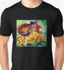 CAT WITH RED RIBBON AND SUNFLOWERS T-Shirt