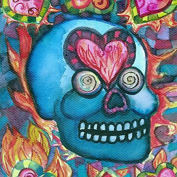 Blue Skull with Flaming Hearts Psychedelic Watercolor by vivacandita