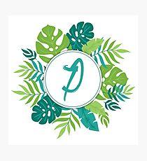 Monogram Letter P | Personalised |Tropical Design Photographic Print