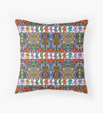 Grateful Dead Bears Trippy Pattern Vintage Colors  Throw Pillow