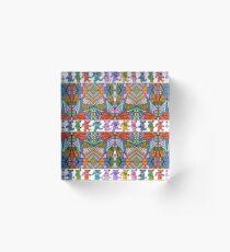 Grateful Dead Bears Trippy Pattern Vintage Colors  Acrylic Block