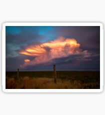 Dreamy - Storm Cloud Bathes in Sunlight at Dusk in Oklahoma Sticker