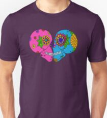Kissing Sugar Skulls Day of the Dead Romance Doodle Unisex T-Shirt