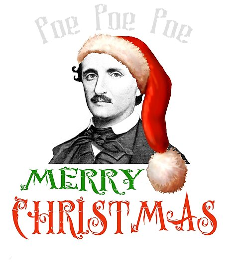 ec73a768f734b Vintage Edgar Allen Poe Christmas Santa Hat Shirt