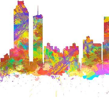 Watercolor art print of the skyline of Atlanta Georgia USA by chris2766