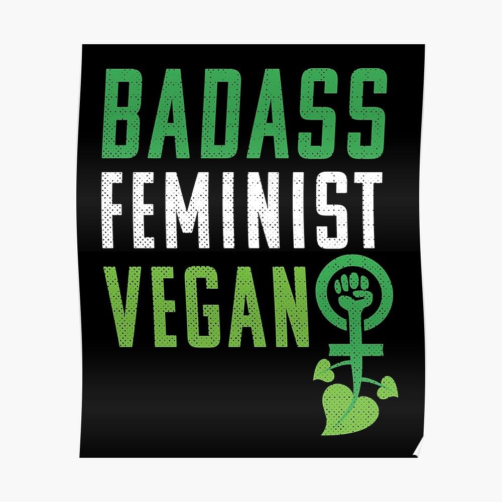 Feminista vegana: puño feminista badass vegano Póster
