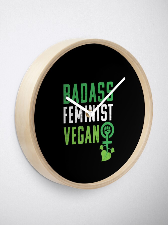 Vista alternativa de Reloj Feminista vegana: puño feminista badass vegano