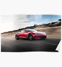 Tesla Roadster 2.0 Illustration Drawing Painting Poster