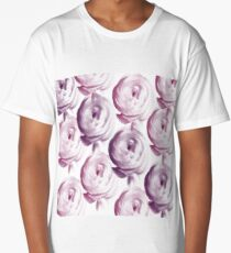 Pink and Purple Floral Print Long T-Shirt