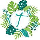 Monogramm-Buchstabe T | Personalisiert | Tropisches Design von PraiseQuotes