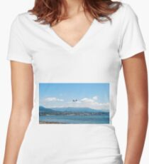 Seaplane taking off over Vancouver bay  Women's Fitted V-Neck T-Shirt