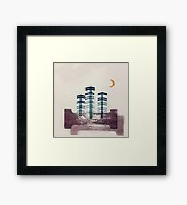 Letterpress Trees and Moon Framed Print