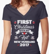 First Christmas With My Hot New Husband T-Shirt 2017 Gift Women's Fitted V-Neck T-Shirt