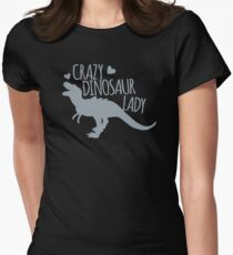 Crazy Dinosaur Lady (Tyrannosaurus)  Womens Fitted T-Shirt