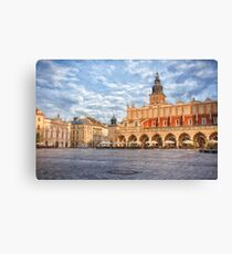 Drawing, illustration old town, Krakow, Poland Canvas Print