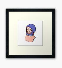 Astronaut Pop Art Illustration 50s Vintage Drawing Framed Print
