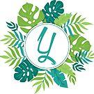 Monogramm-Buchstabe Y | Personalisiert | Tropisches Design von PraiseQuotes