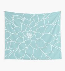 Succulent in Aqua Wall Tapestry