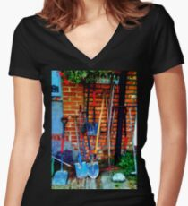 Rakes & Shovels Leaning on a Brick Wall in the Garden Women's Fitted V-Neck T-Shirt