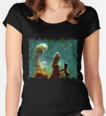 NASA Pillars of creation Eagle Nebula Women's Fitted Scoop T-Shirt