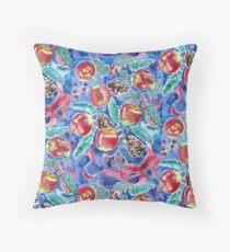 Watercolor Christmas Winter Apples Berries Fir Leaves Pinecones Throw Pillow