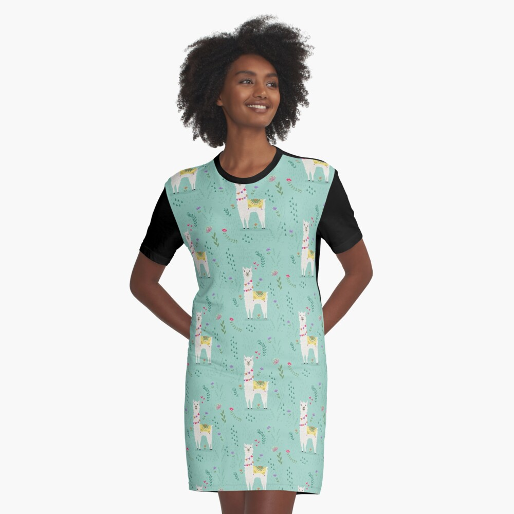 Festive Llama Graphic T-Shirt Dress