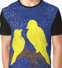 Sweet Yellow Love Birds Graphic T-Shirt