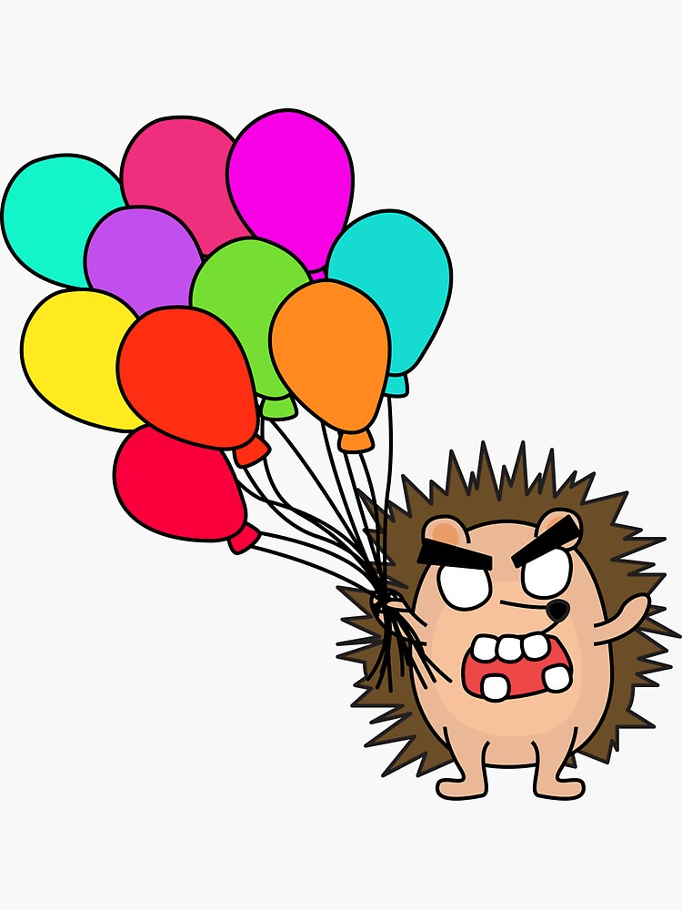 angry zombie hedgehog with balloons by shortstack