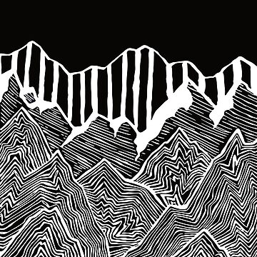 Black and White Abstract Snow-Capped Geode Mountains by drawintowonder