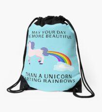 Mochila de cuerdas Que tu día sea más hermoso que un arco iris de pedo unicornio