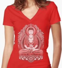Gautama Buddha 2 Colour Halftone Women's Fitted V-Neck T-Shirt
