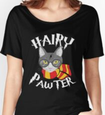 Hairy Pawter Funny Cat Parody Women's Relaxed Fit T-Shirt