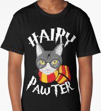 Hairy Pawter Funny Cat Parody Long T-Shirt