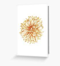 Cafe au Lait Dahlia Botanical Illustration Greeting Card