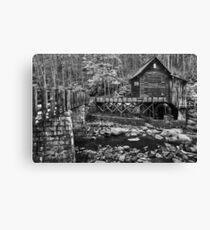 Glade Creek Grist Mill - Black & White Canvas Print