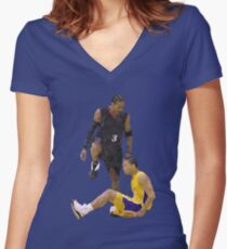 Allen Iverson Steps Over Tyronn Lue Low Poly Women's Fitted V-Neck T-Shirt