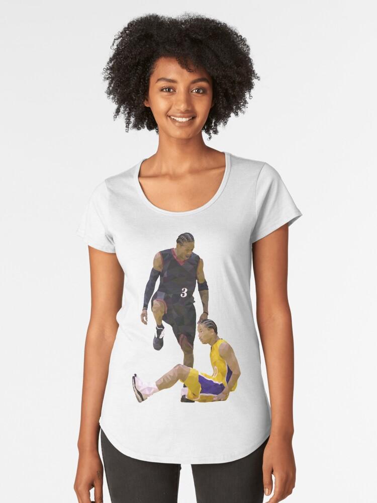 5d3eaf597 Allen Iverson Steps Over Tyronn Lue Low Poly Women s Premium T-Shirt Front