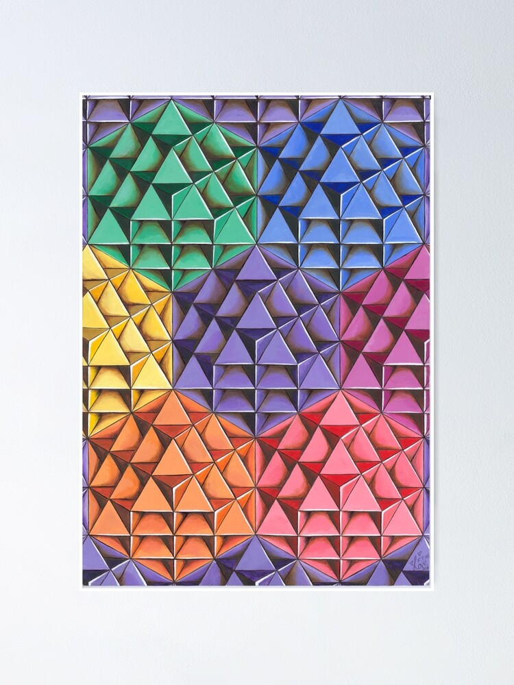 Alternate view of The Infinite 64 Tetrahedron Grid Poster