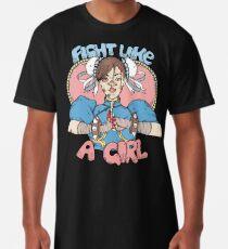 Camiseta larga Lucha como una niña - Chun Li (Street Fighter)