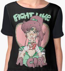 Sailor Moon- Fight Like a Girl (Sailor Jupiter) Women's Chiffon Top