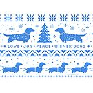 Love Joy Peace Wiener Dogs | Blue and White by Jenn Inashvili