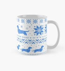 Love Joy Peace Wiener Dogs | Blue and White Holiday Pattern Classic Mug