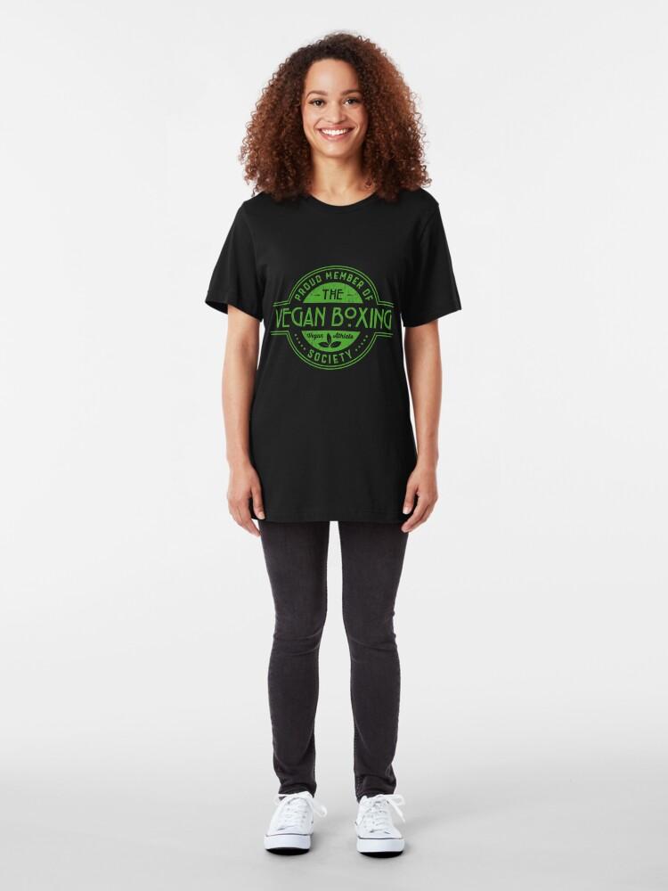 Alternative Ansicht von Vegan Boxing Athlete Society Club Member Gift Slim Fit T-Shirt