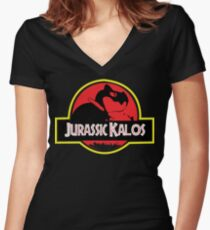 Jurassic Kalos Women's Fitted V-Neck T-Shirt