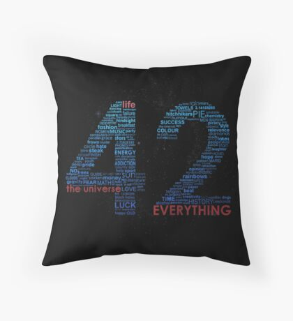 Life, The Universe, and Everything- Hitchhiker's Guide to the Galaxy Throw Pillow