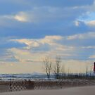 1 or 3 Muskegon, MI Lighthouses, on a Blustery Day by Deb  Badt-Covell